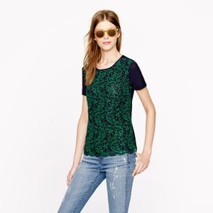 J. Crew Collection Silk Lace Front Tee